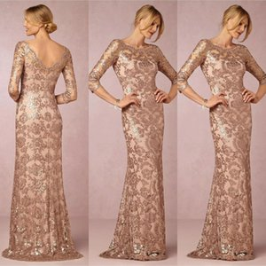 New Cheap Rose Gold Sequined Lace Applique Jewel Half Sleeves Backless Evening Dresses Party Formal Prom Dresses Mother of the Bride Dresses