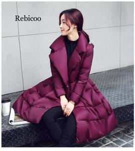 Inverno A-line di modo parka donne giacca Piumini spessore caldo sottile lunga Bow grandi cappotti di cotone altalena femminili N247