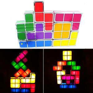 الجدة DIY لعب تكويم كتلة LED مكتب مصباح ضوء ريترو لعبة برج كتل ليلة الخفيفة للأطفال بناء كتلة لغز مصباح DH0813 T03