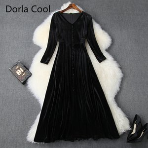 Female Fashion of Midi Velvet Dress Elegant Party Buttons with Low-cut Designer Luxury Lean Spring Aline Dresses Vvag