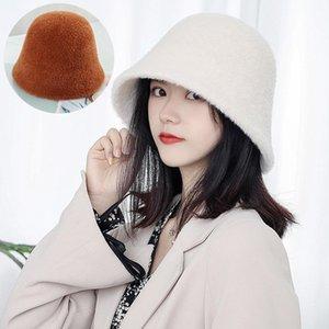 Шапочки / черепные колпачки из искусственных меховых меховых ковш для женщин осень зима мода плюшевые теплые шляпы женские рыбака