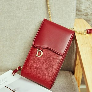 Design mobile phone bag ladies leather 2020 new one shoulder diagonal wine red small bag high quality wild fashion mini bag gift 1239