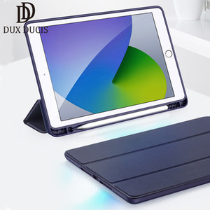 For iPad 10.2 2020 Trifold Case Dux Ducis Flip PU Leather + Soft TPU Smart Sleep Back Cover with Pencil Holder Breathable