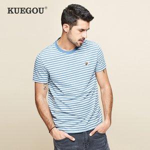 Kuegou Hombre de manga corta camiseta a rayas de moda de la raya elástica de verano camiseta de manga corta Tshirt hombres top dt-5936 x1227