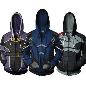 لعبة قداس تأثير سترات الملابس N7 كاملة زيبر الرجال هوديي البلوز ذكر معطف هوديس القمم الخريف كم طويل الملابس