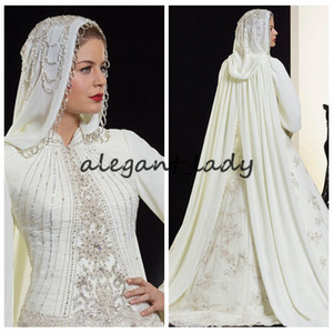 High Neck Long Sleeves Muslim Modest Wedding Dresses With Hijab Saudi Arabic Bridal Gowns 2020 Islamic Beaded Crystal vestidos