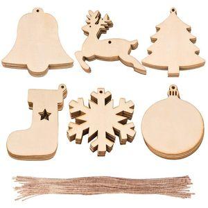 10pcs / bag della decorazione dei calzini di legno Albero di Natale dei cervi di legno naturale fai da te albero di Natale appeso ornamenti di natale Ciondolo EWE2268