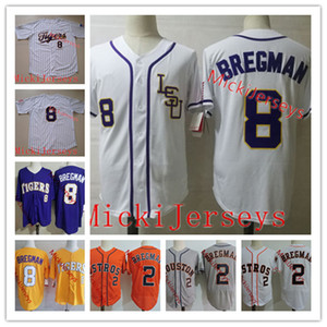 Mens NCAA College # 8 Алекс Бергман LSU Тигры бейсбол Джерси вышивки # 2 Алекс Бергман Джерси S-3XL