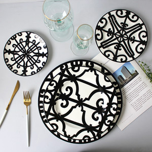 Entera venta 3 unids negro cerámica vajilla decorativo hueso china placa de cena conjunto de placa de filete postre vajilla