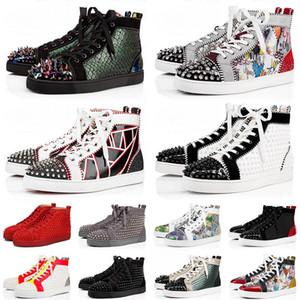 red bottoms مع صندوق 2020 أحذية قيعان حمراء للرجال والنساء مقاس 5-13 مصمم منصة حذاء كاجوال مسطح أحمر أسفل حذاء رياضي أنيق 47 يورو