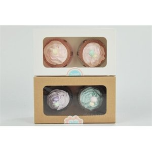 A-kraft Card Paper Cupcake 2 Cup Holders Muffin Cake Boxes Dessert Portable Package Box Tray Gift Favor