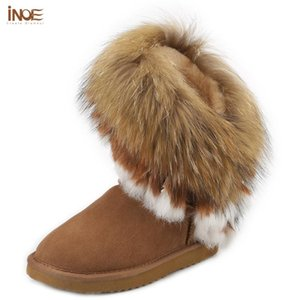 Real sheepskin leather real fur tassels fashion suede winter snow boots for women wool fur lined winter shoes