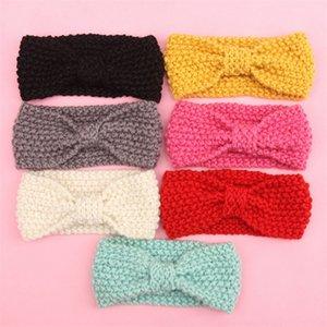 Enfants Filles Hiver Crochet chaud Bandeau Bandes Bandes Baby Girls Xmas Turboban Knot tricoté Bandeau à cheveux Eaufrica Chaleureuse Enfants Princesse Cheveux Accessoires 585 K2