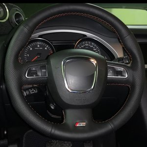 Black Natural Leather Car Steering Wheel Cover for Audi A3 (8P) 2008-2013 A4 (B8) 2008-2010 A5 2008-2010 A6 (C6) 2007-2011