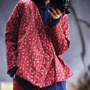Floral Women Parkas 2019 Autumn Spring Cotton Linen New National Retro Lace up Cotton padded Clothes Women Thick Coat