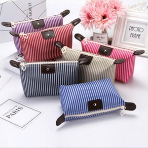 Cosmetic Bags Women Multifunction Travel Cosmetic Bag Makeup Toiletry Waterproof Zipper Pouch Portable Striped Storage Organizer
