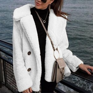 Faux Fur Coat Women Autumn Winter Fluffy Teddy Jacket Coat Plus Size Long Sleeve Outerwear Turn Down Short Female Dropship