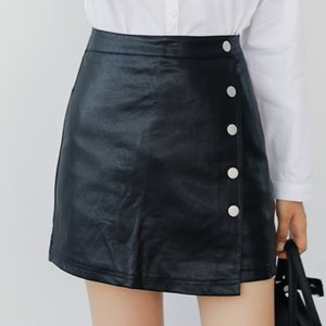 Colorfaith 2019 Women Leather Skirt Autumn Winter Buttons A-line Casual Eelegant Ladies Fashion Package Hip Mini Skirt SK8702 W1218