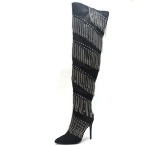 New Design Striped Fringe Beads Decoration Thigh High Boots Sexy High Heel Pointed Toe Side Zip Boots Over The Knee Big Size 43