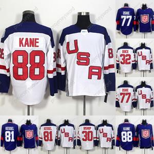 2016 World Cup en blanco EEOTOS USA HOCKEY Jerseys 32 Jonathan Quick 67 Max Pacioretty 77 TJ Oshie 81 Phil Kessel 88 Patrick Kane Hockey Jersey