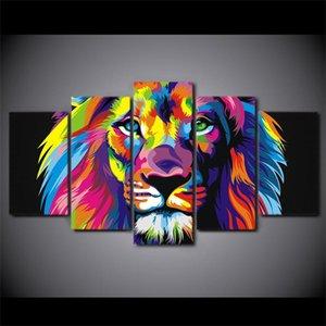 Image modulaire Accueil Decor Toile Peinture Toile Picole Top-Classée Picole Pour Salon Painting à l'huile 5 Panneau Coloré Lion Cadre YGYT