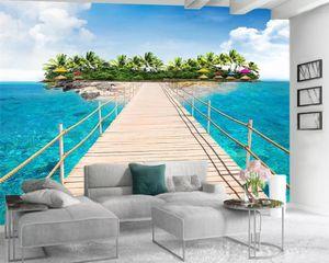 Custom Photo 3d Wallpaper 3d Bedroom Wallpaper Beautiful Plank Promenade Island Romantic Landscape 3d Mural Wallpaper