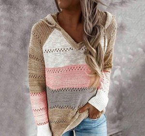 2021 Best Quality Oeak Sweater Women Color Patchwork Sweater Hollow Out V-neck Pullovers Ladies Womens Hooded Knit Hoodies Free Shipping