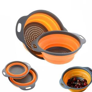 1 pc grande dobrável silicone colander fruta vegetais cesta de lavagem filtro colapsible drenagem com alça ferramentas de cozinha GWF4176
