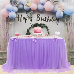 Table Skirt Wedding Party Tulle Table Ware Cloth Birthday Party Halloween Dessert Gauze Skirt Home Decoration