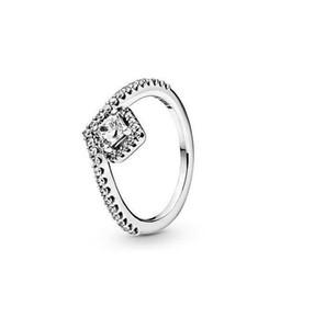 Anelli in argento sterling 925 anelli da donna CZ cuore Diamante anelli genuini per le donne 2 strati sottili cerchio gemma anelli gioielli con scatola