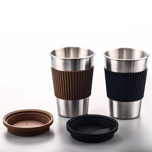 Stainless Steel Coffee Mugs Portable Drinking Cups With Silicone Lids Travel Water Coke Cup Wine Tumbler Straight Bottle GGA2691