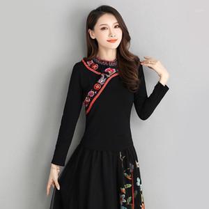 Kyqiao Chemisier original Femmes automne Mexique Style Stand Collier à manches longues à manches longues Noir Black Blouse Blouse Shirt1