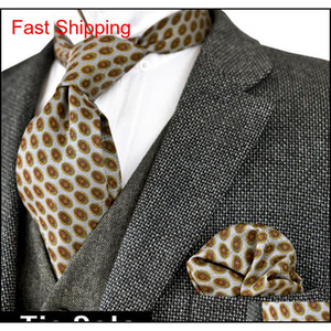 Printed Tie Sets Geometrical Abstract Pattern Mens Neckties Ties Handkerchief 100% Silk Printing Free Shipping Poc qylyRZ new_dhbest