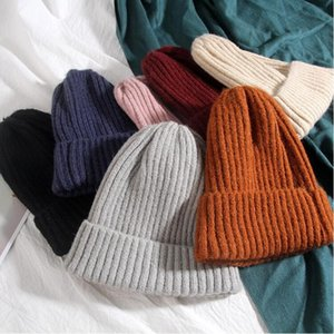 Lady Beanie Caps knitted Cashmere thick warm couple lovers parent-child hats tide street hip-hop wool cap Adult Children WY895