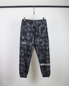 High quality fashion brand clothings Aape head custom logo zipper reflective printing cotton sweatpants for men and women lovers