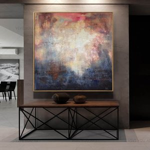 New Modern Colorful Gray Abstract Wall Painting Hand Painted On Canvas Wall Picture For Living Room Home Decor Gift LJ201128