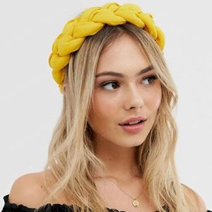 Braided Thick Hair Band For Women Solid Color Head Wrap Headwear Elastic Headbands Twist Knitting Hair Accessories