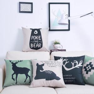 45*45cm Custom Pillow Flaxen Encrypted Cotton Linen Pillow Covers Cartoon Deer Minimalistic Geometric Amazon Explosion Pillowcase AHB2669