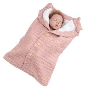Lonsant Newborn Bolsa de dormir Sólido Punto de crochet Botón de ganchillo Infantil Bebé Manta Invierno Cálido Chica Chica al aire libre Swaddle Wrap W1218