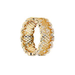 18K Yellow gold Women Wedding CZ Diamond Ring Original Box for Pandora 925 Sterling Silver honeycomb Rings Set