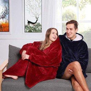 Lamb Wool Blanket With Sleeves Super Soft Warm Microfiber Plush Outdoor Pocket Hoodie Adult Winter TV Hoodie Blankets