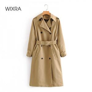 Wixra Womens Trench giacche casual doppio petto impermeabile Cappotto Ante lungo Chic femminile Windbreaker Cappotti 1026