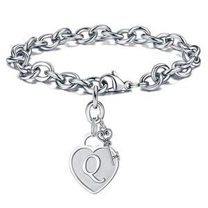 Stainless Steel 26 Initial Letters Heart Bracelet Charm Bracelet Fashion Key Letter Lover Women Bracelets Fashion Jewelry