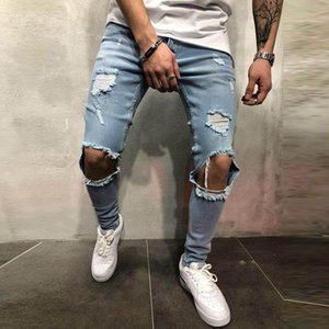 Sexy Hole Men's Jeans Plus Size Zipper Vintage Jeans Skinny Stretch Male Hip Hop Trousers Pencil Pants Men Casual Denim Pants