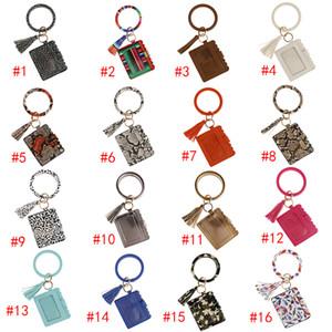 Sunflower Leopard Flower Bracelet Card Bag Wallet Keychain Wristlet Keyring Colors Leather Bangle Keychain Credit Card Holder With Tassel