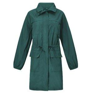 Women Full Sleeve Jacket Hooded Raincoat Autumn Waterproof Slim Outdoor Hiking Wind Jacket Long Coat Spring Green Plus Size