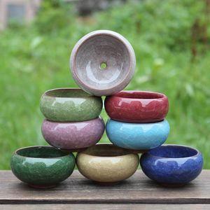 Ice Cracked Ceramics Garden Pot Breathable Mini Planters For Home Desktop Succulent Plants Flowerpot Garden Supplies WQ729
