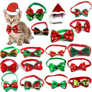 Merry Christmas Pet Bow Tie Cat Dog Collar Cute Neck Strap Adjustable Puppy Necklace Grooming
