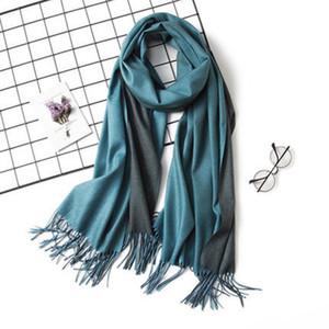 LaMaxPa Dropshipping Fashion Winter Cashmere Scarf Women Double Side Pashmina Shawls and Wraps Hijab Female Warm Bandana Foulard Y200103