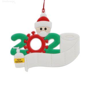 Christmas Ornament 2020 Quarantine Party Gift Personalized Family Of 1 2 3 4 5 PVC Tree Pendant Xmas Decorations CCA12567 100pcs